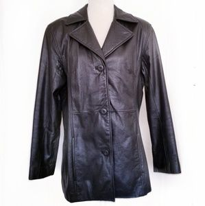 Vintage Wilsons size L black leather jacket fitted